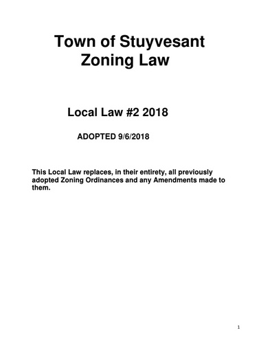 Zoning Law   Adopted Sept  2018