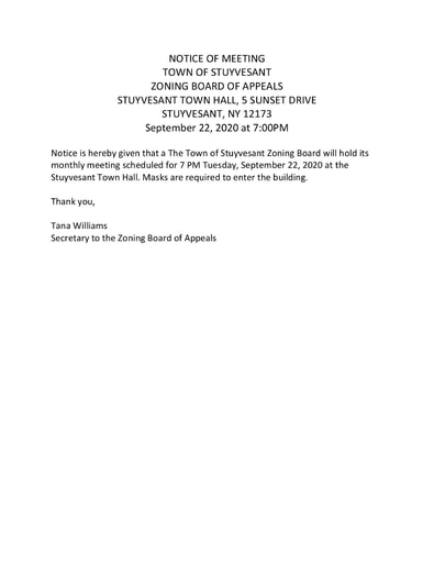 LEGAL NOTICE OF MEETING ZBA 09 22 2020